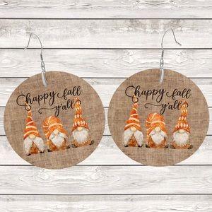 Happy Fall Ya'll Gnomes on Burlap Round Earrings